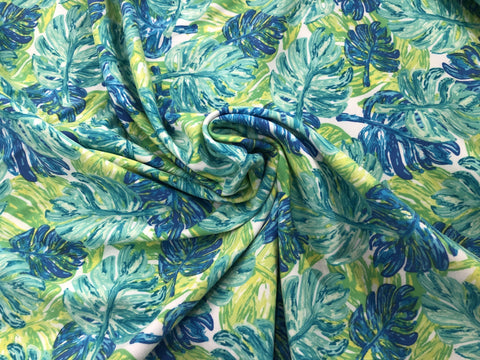 95/5 Cotton/Spandex Jersey - Ferns of Pandora - Na'vi Blues & Greens