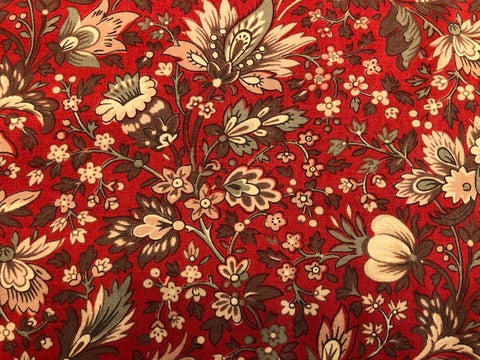 William Morris Inspired Red Floral - by Moda - 100% cotton quilting