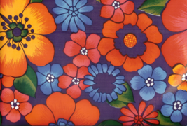 Oil Cloth - Flower Power on Purple