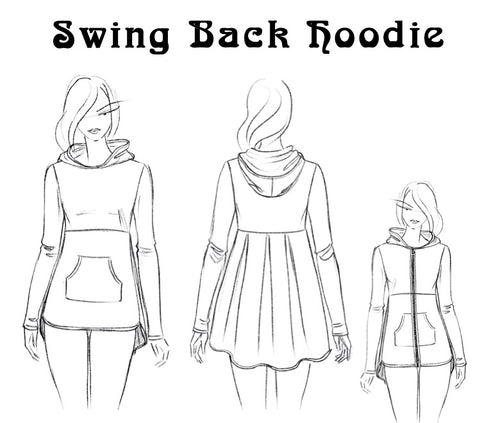 Swing Back Hoodie - Hard Copy Pattern, Digital Download Pattern, Complete Kit