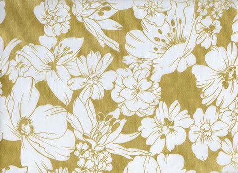 Oil Cloth - White Floral on Gold