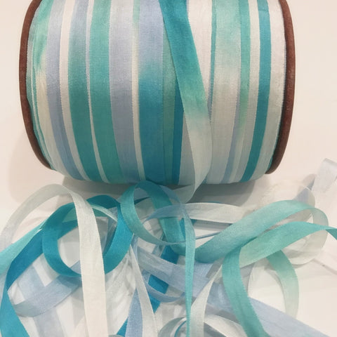 "Pure Silk Ribbon 1/4"" - Clouds & Sky"