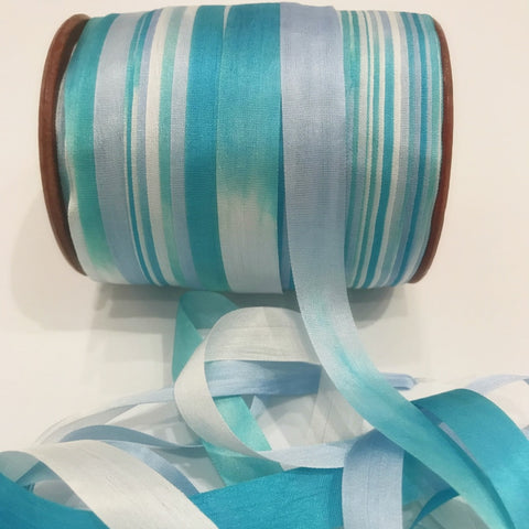 "1/2"" Wide Pure Silk Ribbon - Blue Sky and Puffy Clouds"