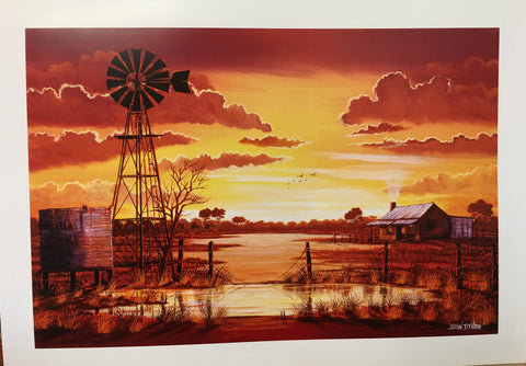 Sunset windmill Print