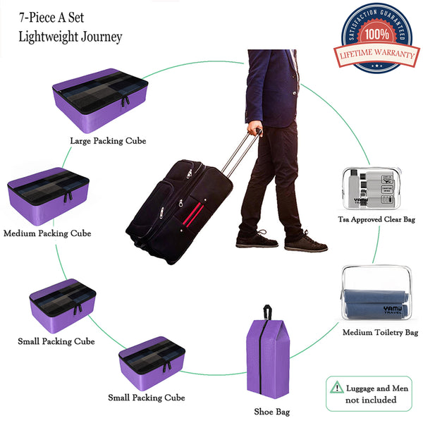 YAMIU 7-Pcs Travel Packing Cubes Including 2-pack Waterproof Toiletry Bags and Shoe Bag for Women Men(Purple)