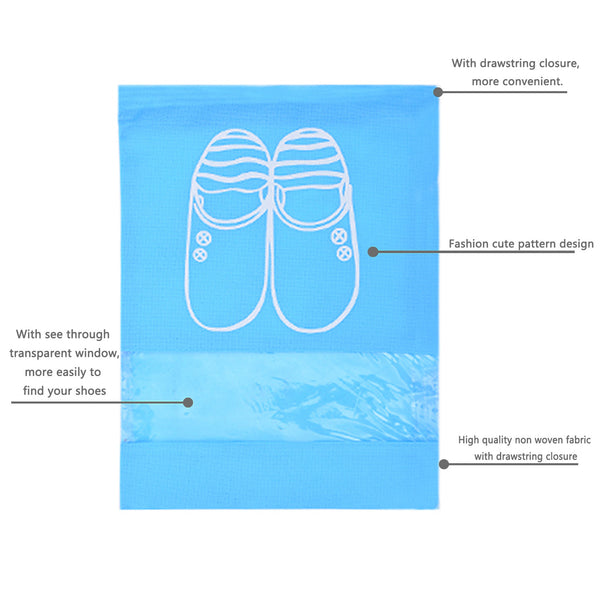 YAMIU 4 Pcs Shoe Bags Dust-proof Drawstring with Transparent Window Travel Shoe Storage Bags