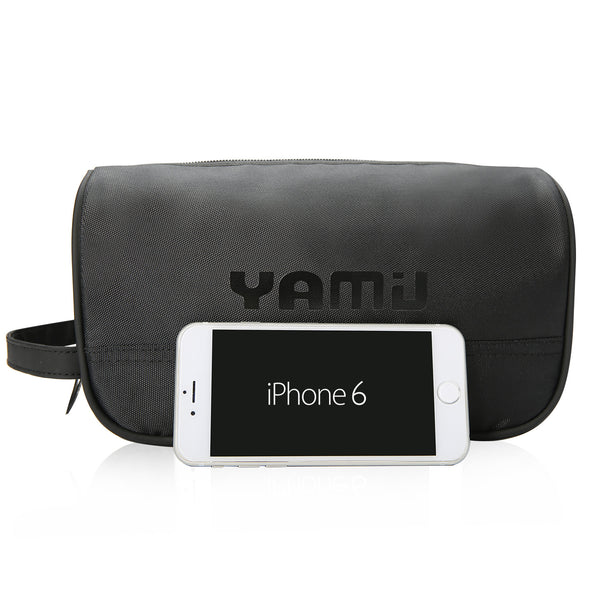 YAMIU Makeup Cosmetic Bag Travel Toiletry Pouch Organizer for Women & Men with Large Capacity (Black)