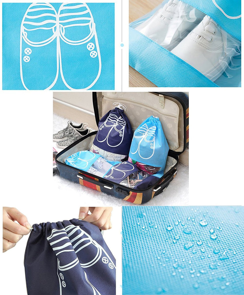 12 Pieces Travel Shoe Storage Bag Non-Woven Storage Bag Portable Shoes Pouch with Transparent Window for Daily and Travel Use