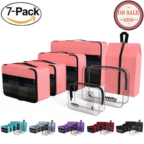 YAMIU 7-Pcs Travel Packing Cubes Including 2-pack Waterproof Toiletry Bags and Shoe Bag for Women Men(Pink)