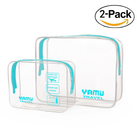 YAMIU Travel TSA Approved Toiletry Bag Waterproof Airline Clear Kit 3-1-1 TSA Quart Bag for Men&Women 2-Size(Aqua)