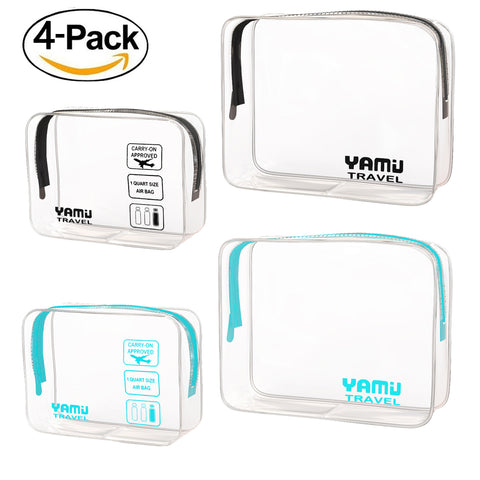 YAMIU Travel TSA Approved Toiletry Bag Waterproof Airline Clear Kit 3-1-1 TSA Quart Bag for Men&Women 2-Size(Black & Aqua)