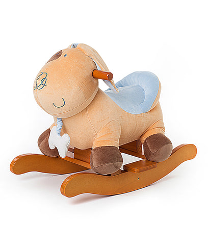 Child Rocking Horse, Wooden Rocking Horse Toy, Stars Printed Grey Rocking Horse for kid 1-3 Years