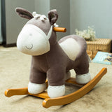 Baby Rocking Horse Wooden, Plush Rocking Horse Toy, Brown Donkey Rocking Horse for Baby 1-3 Years - Labebe