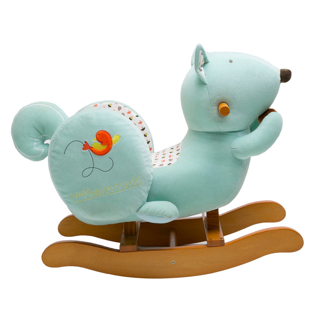 Labebe Amazon Best Selling Child Rocking Horse Toy, Stuffed Animal Rocker Toy, Blue Squirrel Plush Rocker Toy for Kid 1-3 Years - Labebe