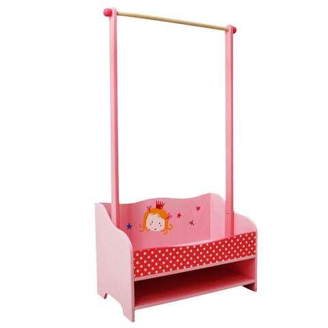 Kid Furniture,Children's clothes racks in wood with 8 hooks-Pink Princess