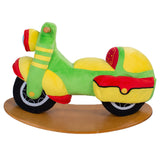 Baby Rocking Horse Wooden, Plush Rocking Horse Toy, Green Motorbike Rocking Horse for Baby 1-3 Years - Labebe