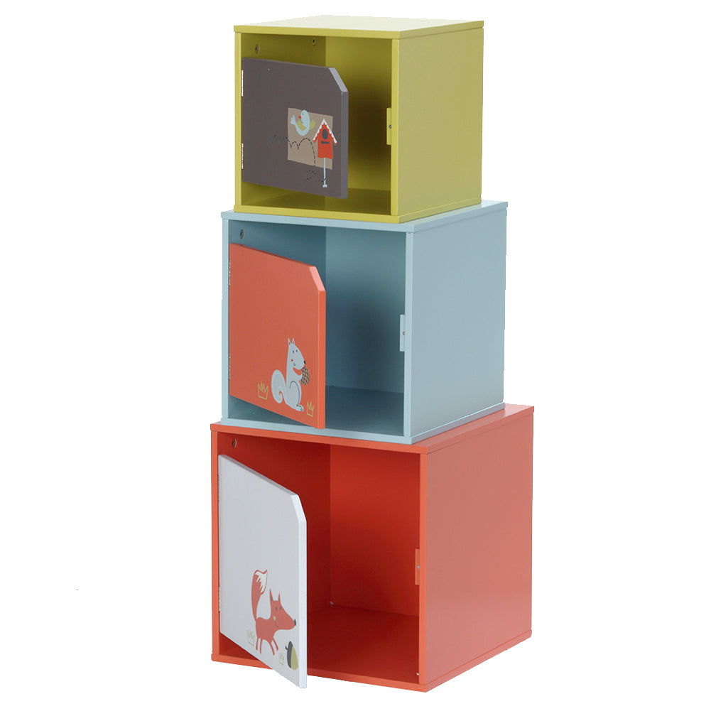 Wooden Furniture 3-color Combined Stackable Wooden Storage Toy Bin - Three Different Sizes - Labebe