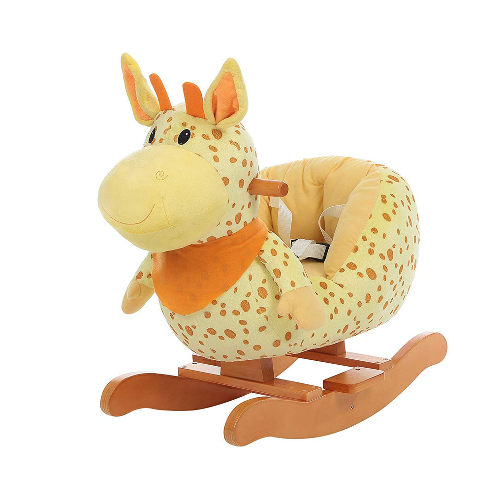 Labebe Child Rocking Horse Plush, Fawn Rocking Horse Stuffed, Yellow Giraffe Rocker for Kid 1-3 Years, Rocking Toy/Wooden Rocking Horse/Animal Rocker Toy/Animal Ride/Deer Rocker for Boy&Girl - Labebe