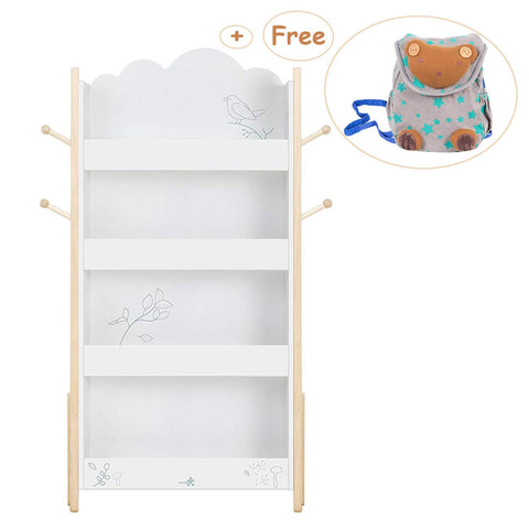 Wooden Organizer, Baby Toys Storage Container, Concise White Box, 2-in-1 with Rocks