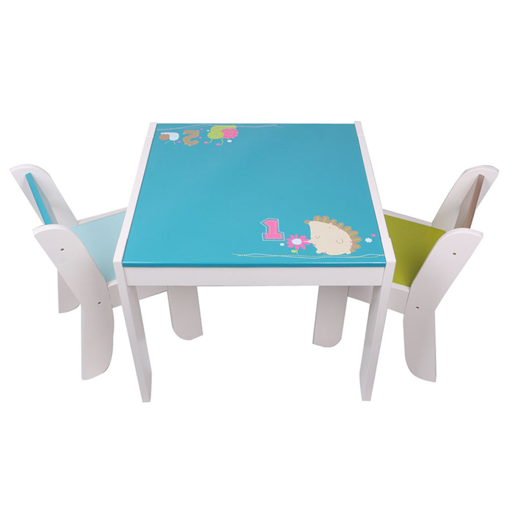 Wooden Activity Table Chair Set, Blue Hedgehog Toddler Table for 1-5 Years - Labebe