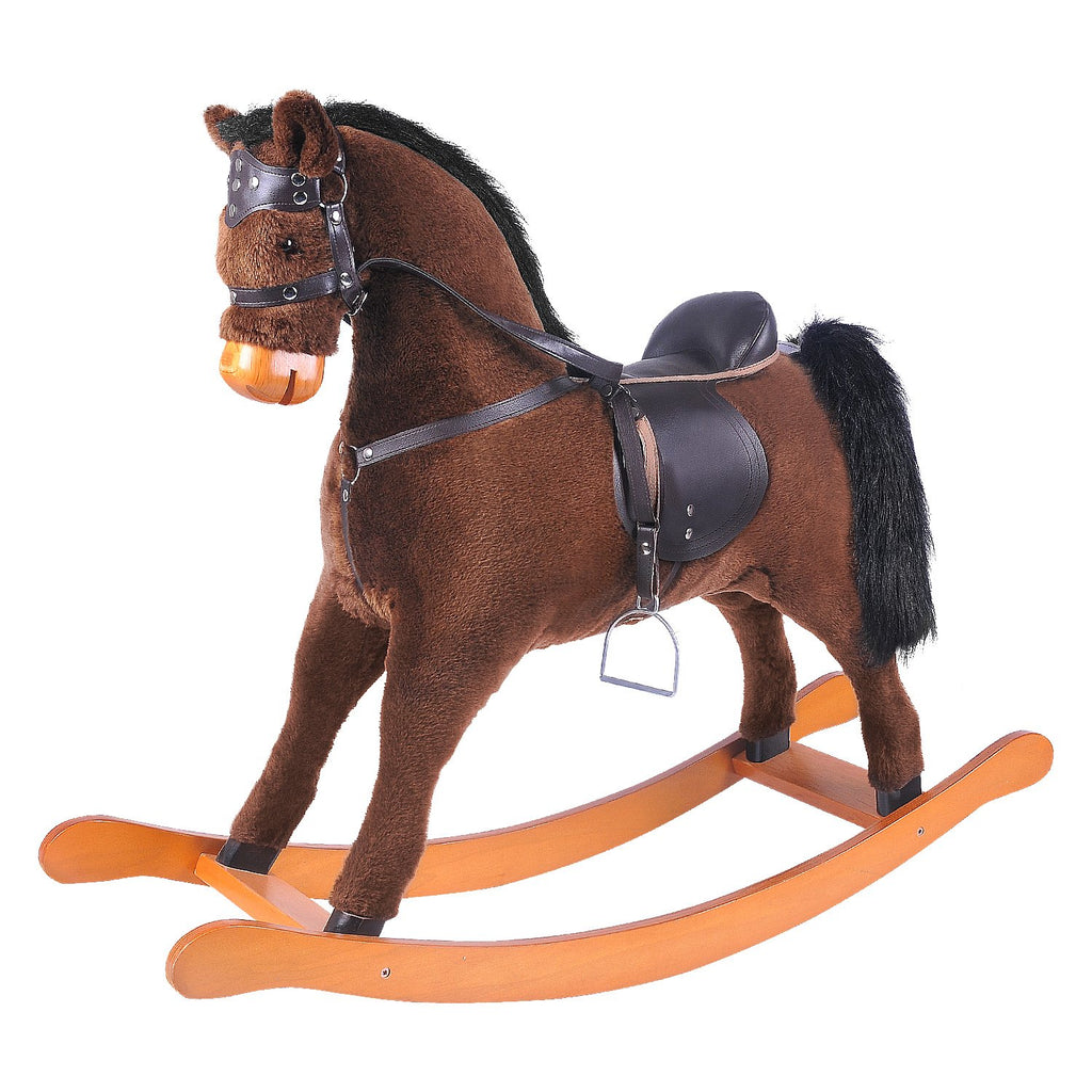 [25$ OFF till 1.31]-Labebe Large Rocking Horse Toy, Stuffed Animal Rocker Toy, Brown Rocking Horse with Bridle for Kid 3-8 Years, Wooden Rocking Horse with Saddle/Outdoor Rocking Horse/Rocker - Labebe
