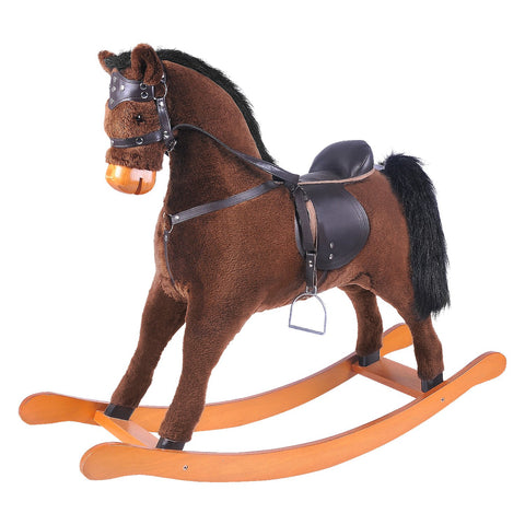 Child Rocking Horse, Wooden Rocking Horse Toy, Brown Rocking Horse for kid 1-3 Years