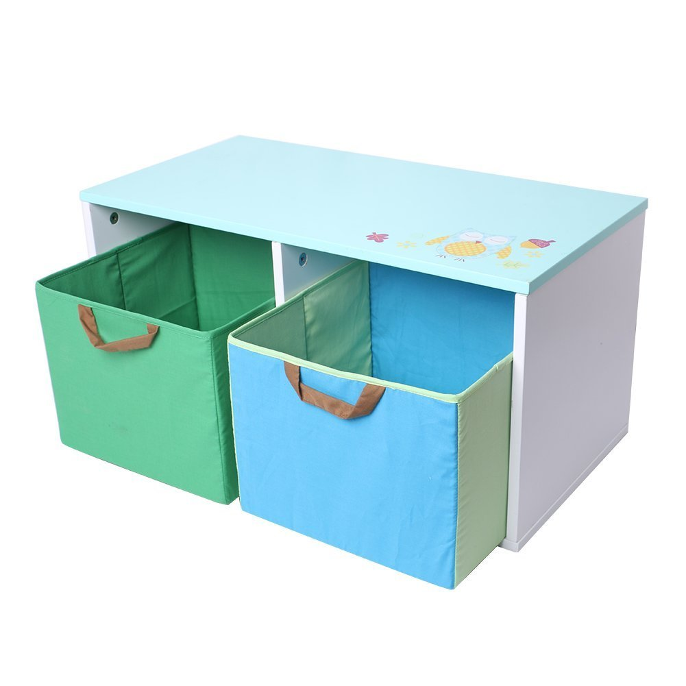 Labebe Baby Well Holding Wooden Toy Box/Chest Baskets Storage Bins Organizer for Baby Girls & Boys Toddler with 2 Bins- Green & Blue - Labebe