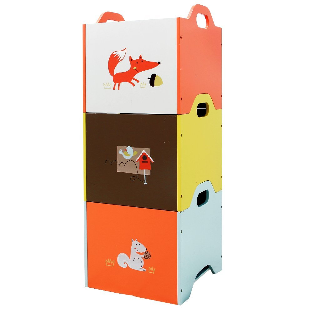 Superbe Wooden Toy Storage Bin, 3 Color Combined Stackable Fox Toy Bin, Closed U2013  Labebe