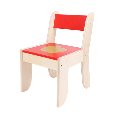 Wooden Activity Table Chair, Red Apple Toddler Table with Chalkboard for 1-5 Years