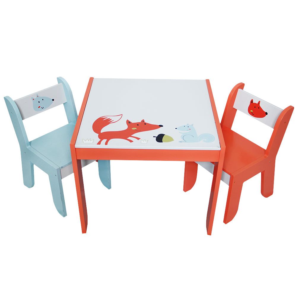 Wooden Activity Table Chair Set, Fox Printed White Toddler Table for ...