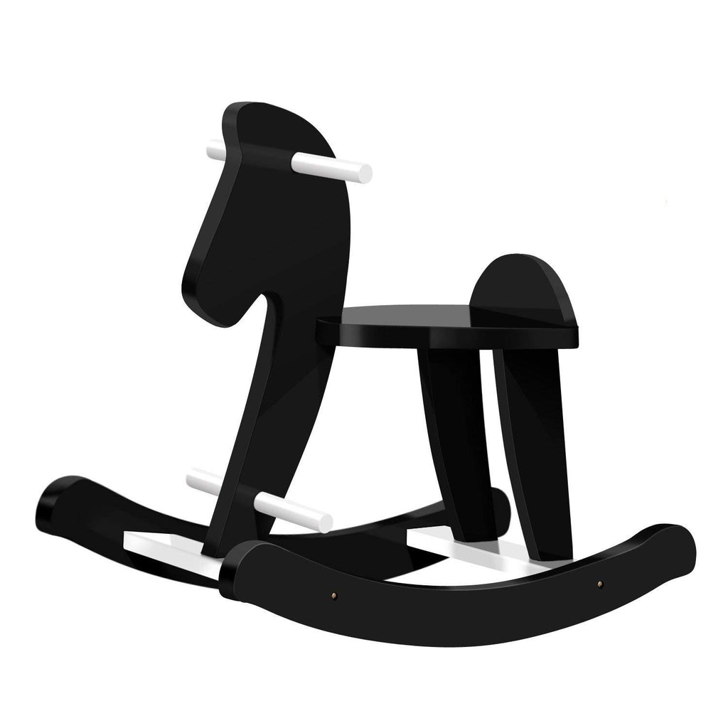 Labebe Baby Rocking Horse Wooden, Black Rocking Horse Toy for Baby Up 1 Year, Baby Rocker Chair/Toddler Rocker Toy/Child Rocking Horse/Wooden Rocking Horse Rocker/Baby Rocker Toy/Rocking Horse Black - Labebe