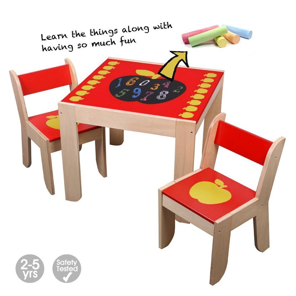 Labebe Wooden Activity Table Chair, Red Apple Toddler Table with Chalk