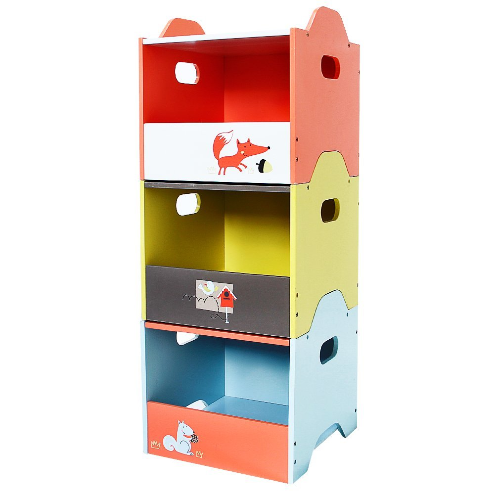 Wooden Toy Storage Bin, 3-Color Combined Stackable Fox Toy Bin, Open Door Baby Toy Chest with 3 Layers for Baby - Labebe