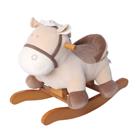 Child Rocking Horse Toy, Stuffed Animal Rocker Toy, Brown Knight Horse Rocking Plush for Kid 1-3 Years