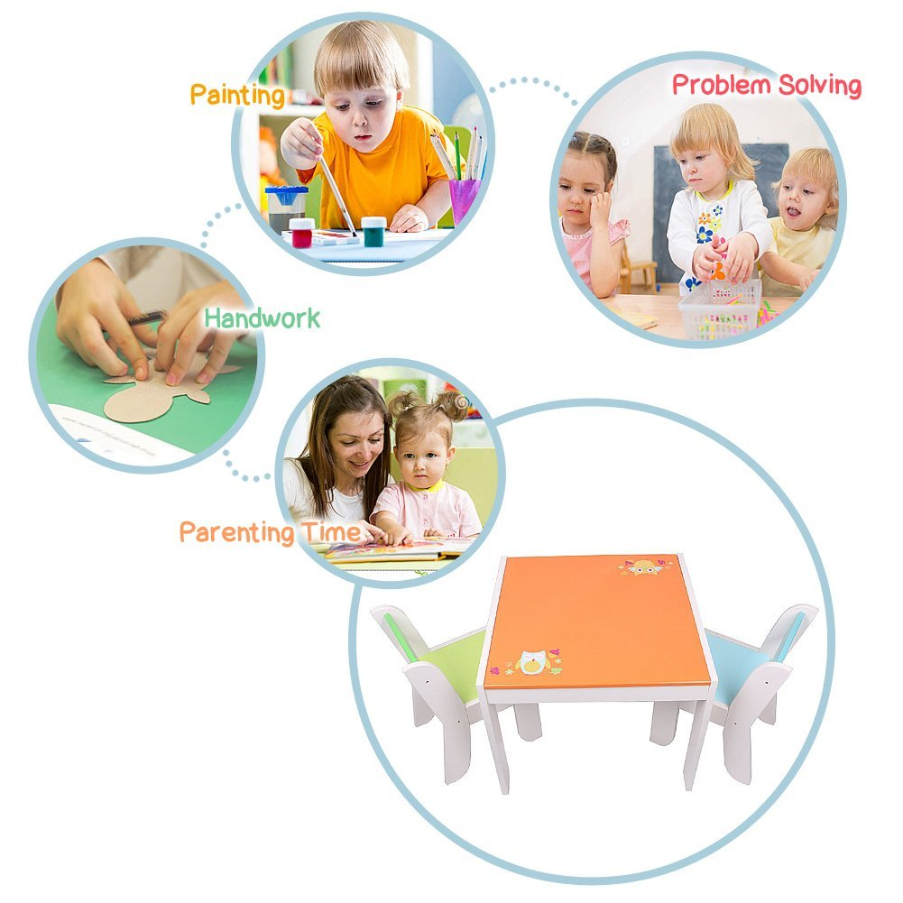 Wooden Activity Table Chair Set, Orange Owl Baby Furniture for 1-5 Years - Labebe
