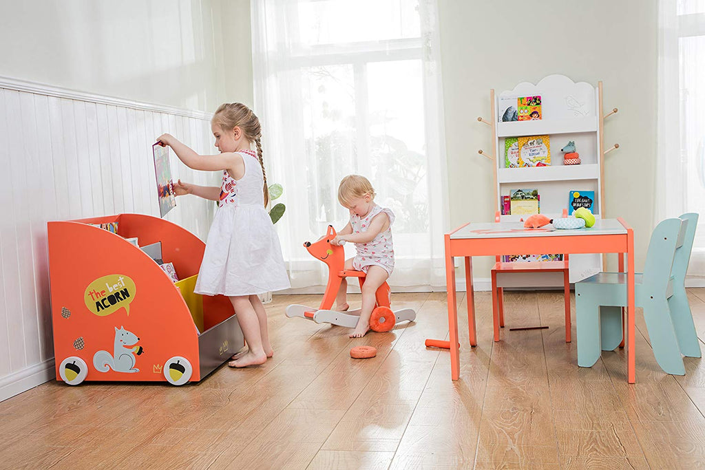 Kid Bookshelf with Wheels, Orange Pine Wood Bookshelf for Kid 1 Year Up - Labebe