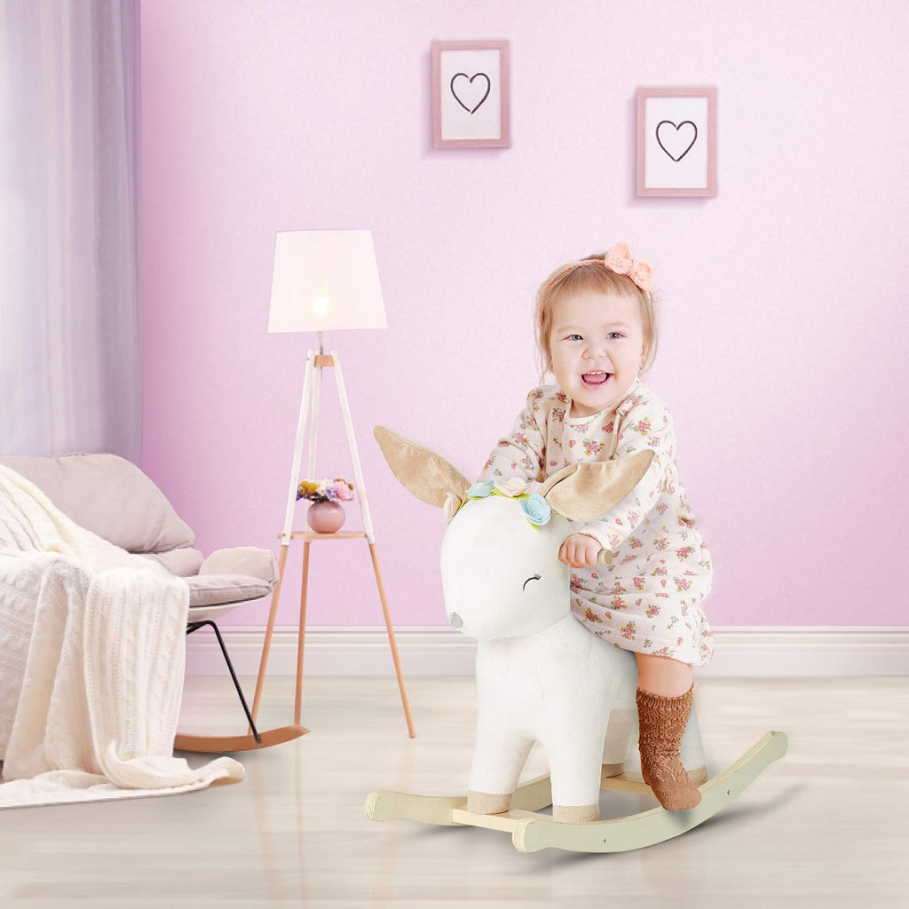 Labebe Baby Rocking Horse Plush, Female Deer Rocker Toy with 3 Songs, Music Rocking Horse for Child 1-3 Years, - Labebe