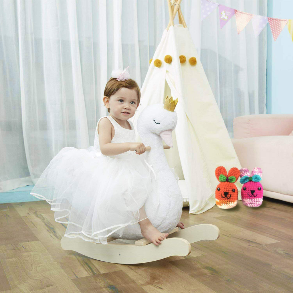 Labebe Swan Rocking Horse Toy, Swan Rocker Plush, Baby Rocking Horse for Kid 1-3 Years - Labebe