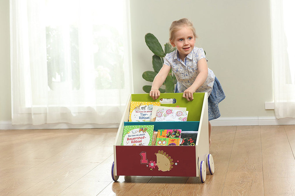 Kid Bookshelf with Wheels, Green Hedgehog Wood Bookshelf for Kid 1 Year Up - Labebe