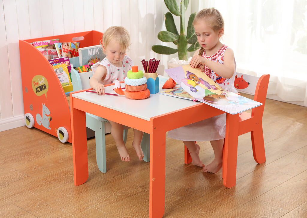 Wooden Activity Table Chair Set, Fox Printed White Toddler Table for 1-5 Years - Labebe