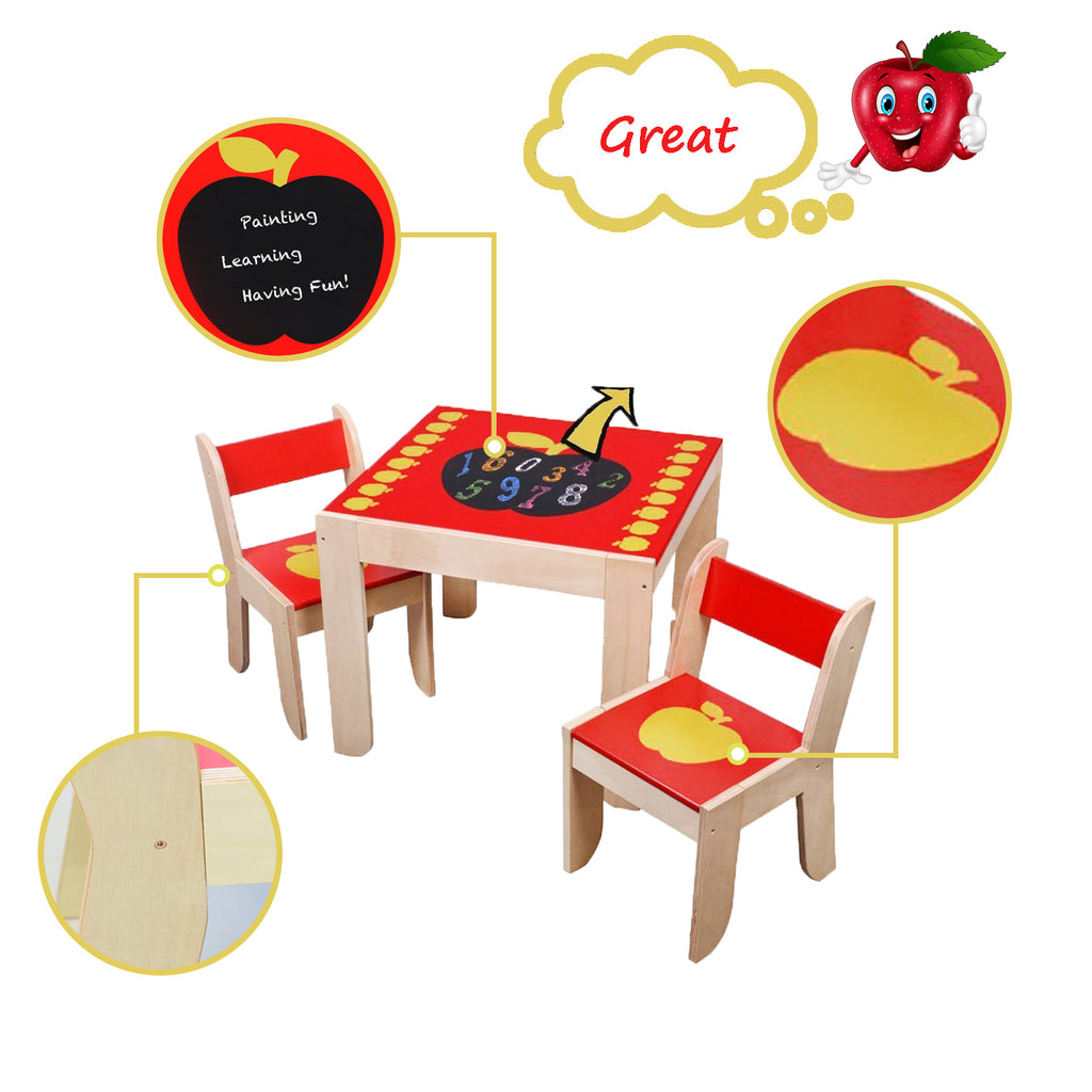 Wooden Activity Table Chair, Red Apple Toddler with Chalkboard for 1-5 Years
