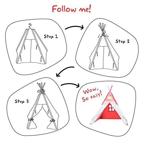 Play Teepee Kid, Baby Tent Pink for Kids 2-5 Years, Child Teepee for Baby Girl - Princess Pink - Labebe