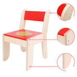 Chair for Kids Red for 1 to 5 Years Old Kids, Pair with Red Apple Table Set, Solid Wood - Labebe