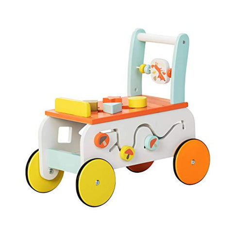 Baby Walker with Wheel, Orange Owl Printed Wooden Push Toy, 2-in-1 Wooden Activity Walker for Baby 1-3 Years