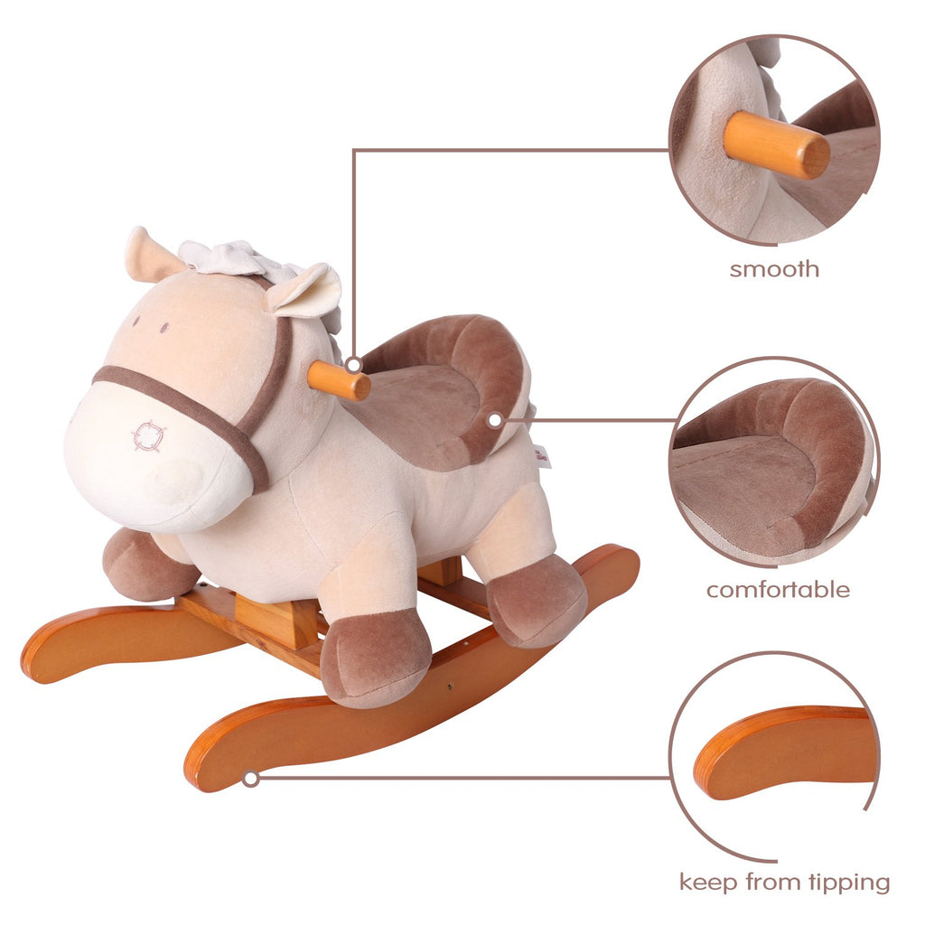 labebe Baby Rocking Horse Wooden, Plush Rocking Horse Toy, Khaki Donkey Rocking Horse for Baby 1-3 Years, Baby Wooden Rocking Horse/Baby Rocker/Garden Rocking Horse/Indoor&Outdoor Rocking Horse Toy - Labebe