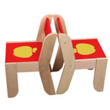 Wooden Activity Table Chair, Red Apple Toddler Table with Chalkboard for 1-5 Years - Labebe