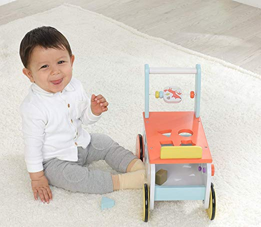 Labebe New Design Baby Walker with Wheel, Orange Fox Printed Wooden Push Toy, 3-in-1 Wooden Activity Walker for Baby 1-3 Years - Labebe