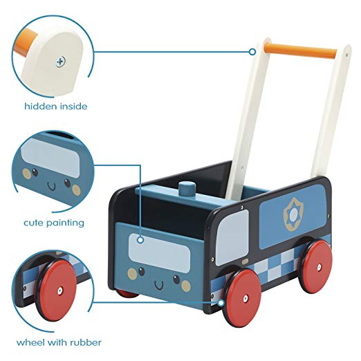 Baby Walker with Wheel, Blue Police Walker, 2-in-1 Wooden Activity Walker for Baby 1-3 Years - Labebe