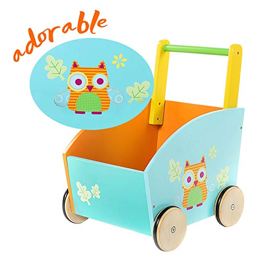 Baby Walker with Wheel, Orange Owl Printed Wooden Push Toy, 2-in-1 Wooden Activity Walker for Baby 1-3 Years - Labebe