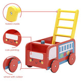 Baby Walker with Wheel, Red Fire Truck Walker, 2-in-1 Wooden Activity Walker for Baby 1-3 Years - Labebe
